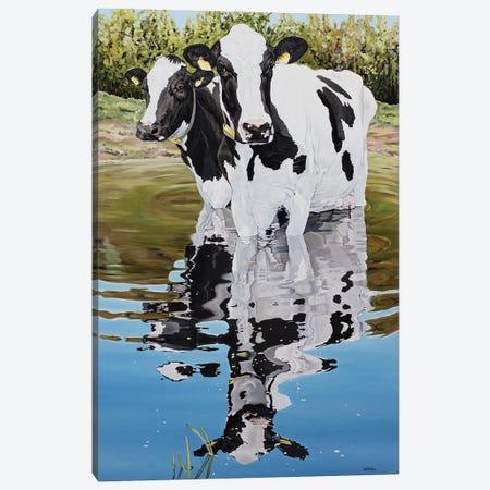 Two Cows In A Creek Canvas Print #BTN41} by Clara Bastian Canvas Art Print