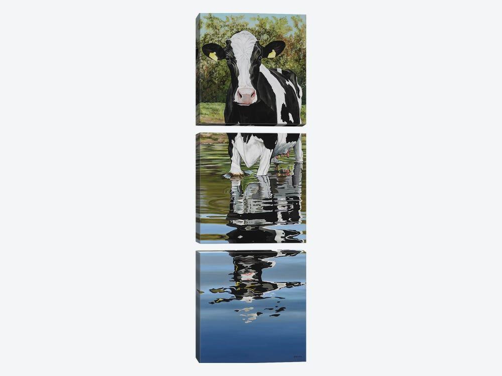 Cow In A Creek by Clara Bastian 3-piece Canvas Wall Art