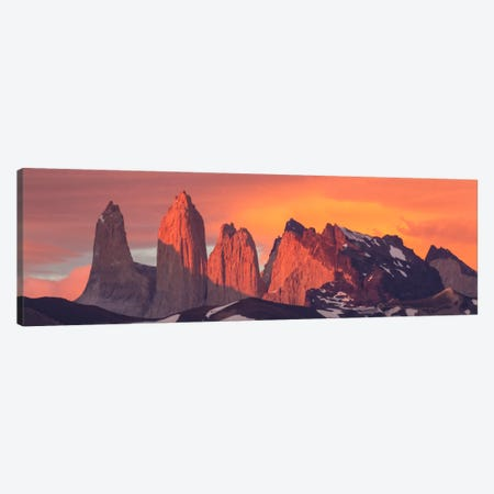 Storm Clouds At Sunrise Above Torres Del Paine As Seens From Azul Lagoon, Torres Del Paine National Park, Chile 3-Piece Canvas #BTR9} by Matthias Breiter Canvas Art Print