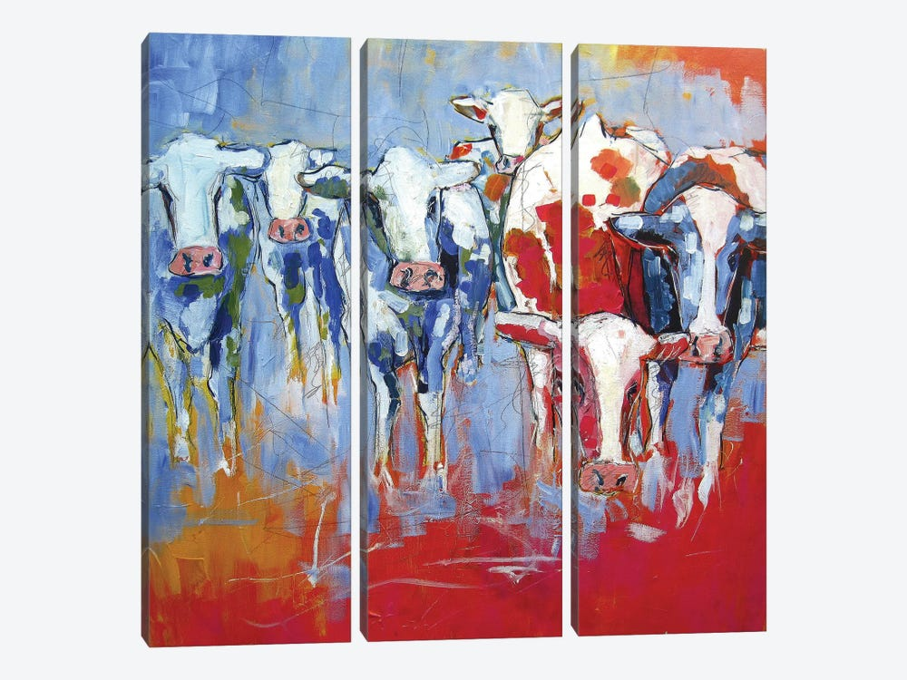 Cows by Luc. 3-piece Art Print