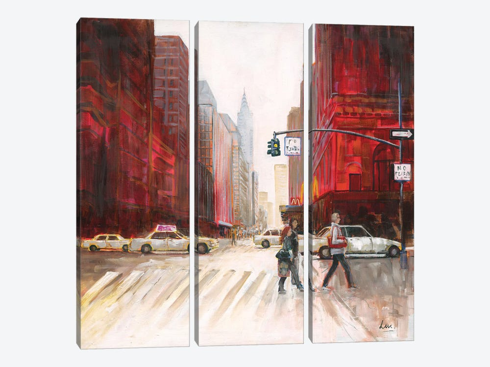 Red Fusion IV by Luc. 3-piece Canvas Wall Art