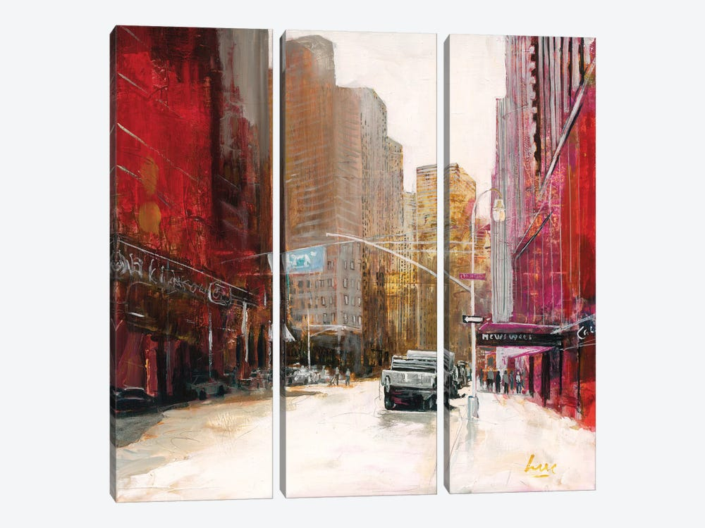 Red Fusion V by Luc. 3-piece Canvas Art Print