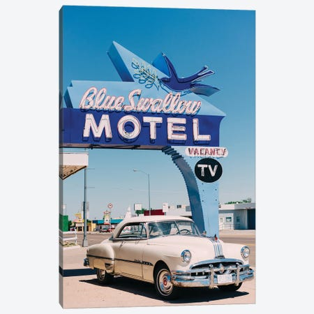 Blue Swallow Motel Canvas Print #BTY1441} by Bethany Young Art Print