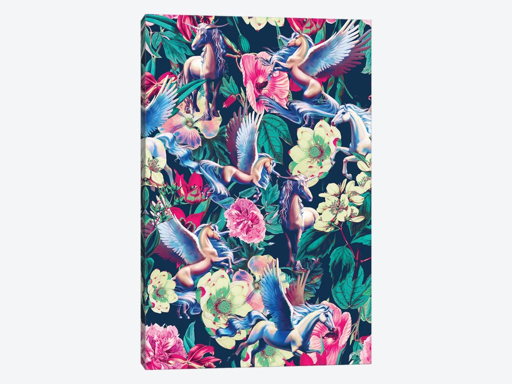 Unicorn And Floral Pattern 1-piece Canvas Art Print