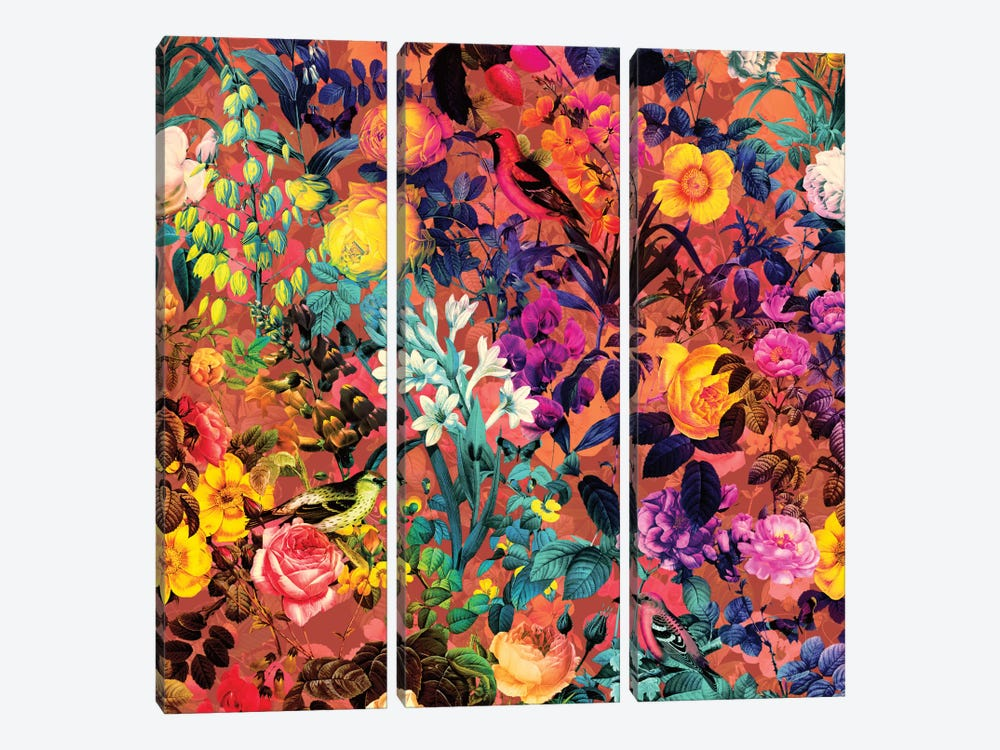 Floral And Bird II by Burcu Korkmazyurek 3-piece Art Print