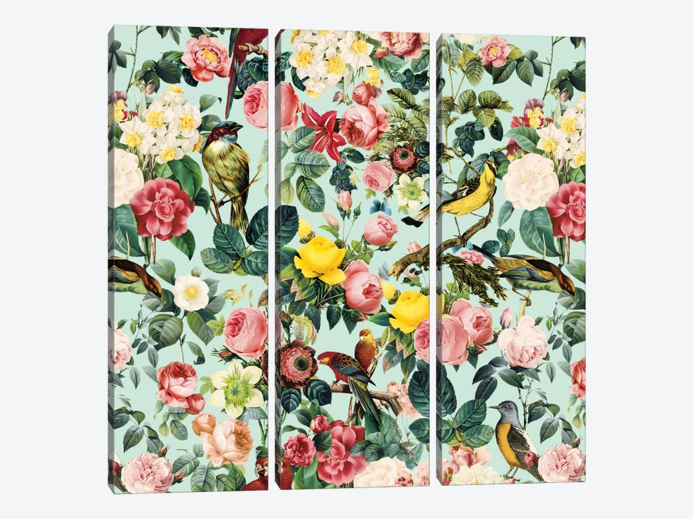 Floral And Bird III by Burcu Korkmazyurek 3-piece Canvas Artwork