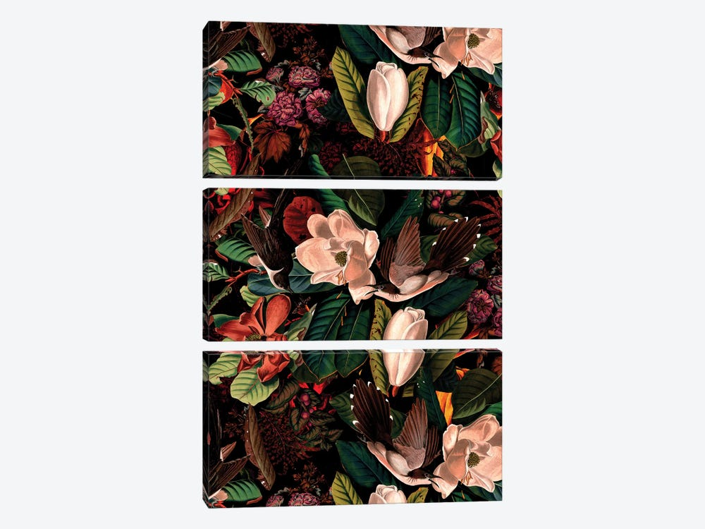 Floral And Birds XXI by Burcu Korkmazyurek 3-piece Art Print