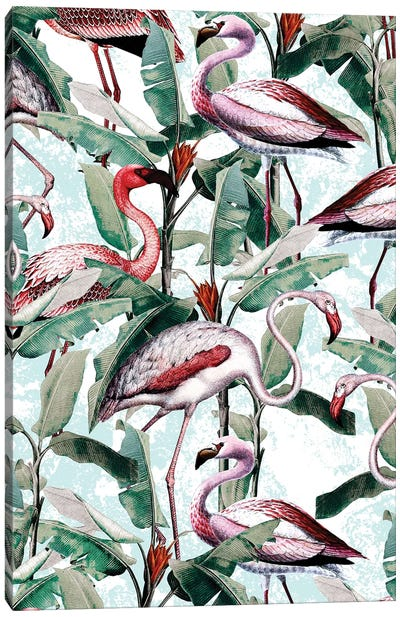 Floral And Flamingo VIII Canvas Art Print