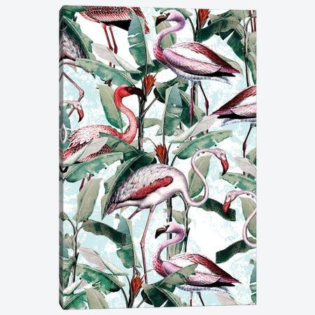 Floral And Flamingo VIII Canvas Print #BUR133} by Burcu Korkmazyurek Canvas Art