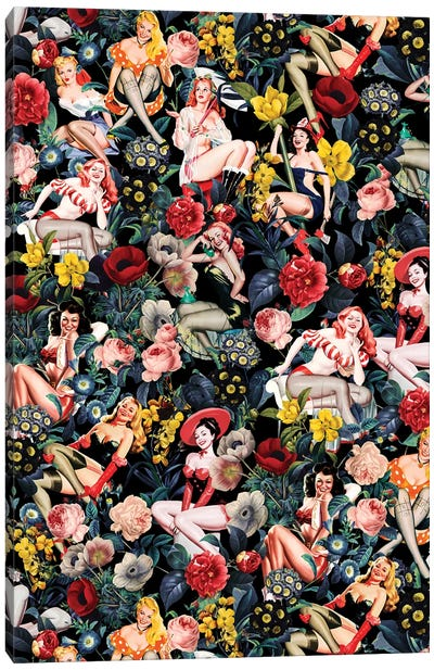 Floral And Pin-Up Girls IV Canvas Art Print