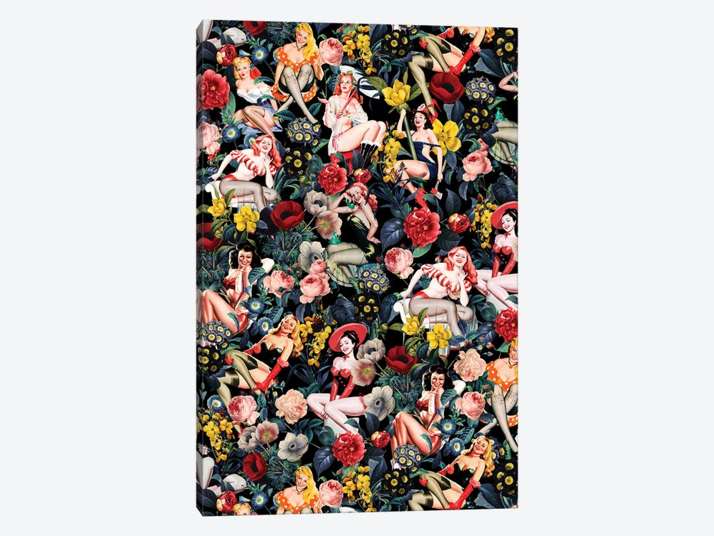 Floral And Pin-Up Girls IV by Burcu Korkmazyurek 1-piece Canvas Artwork
