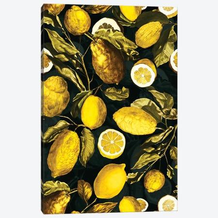 Lemon And Leaf Pattern V Canvas Print #BUR139} by Burcu Korkmazyurek Canvas Wall Art