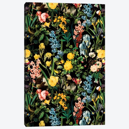 Floral And Bird V Canvas Print #BUR13} by Burcu Korkmazyurek Art Print
