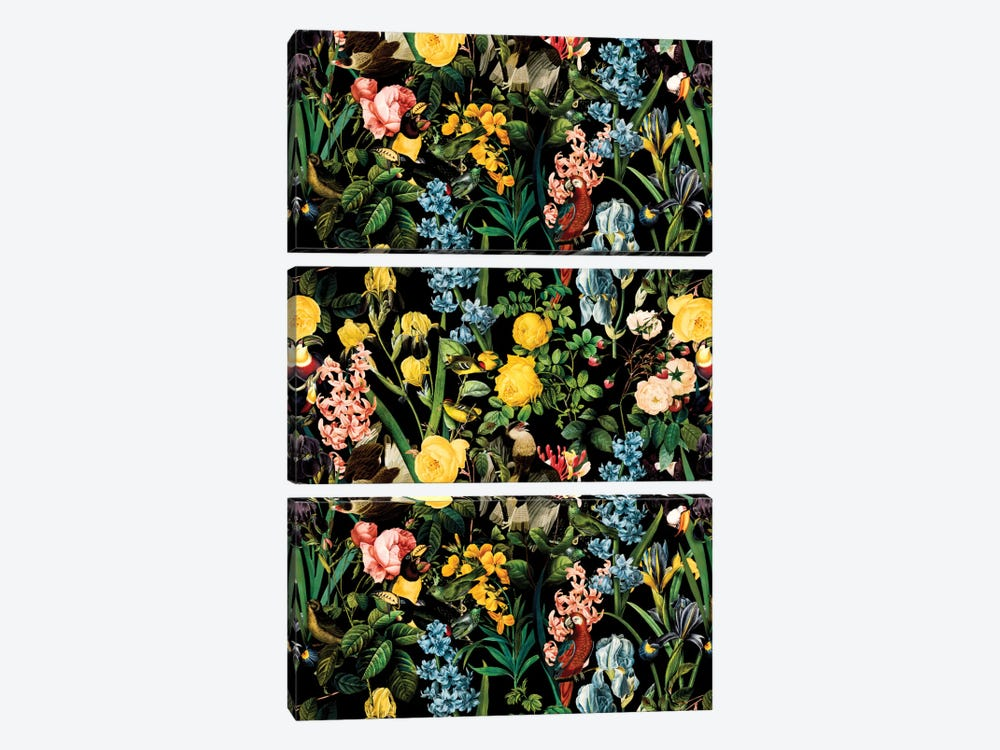 Floral And Bird V by Burcu Korkmazyurek 3-piece Canvas Art