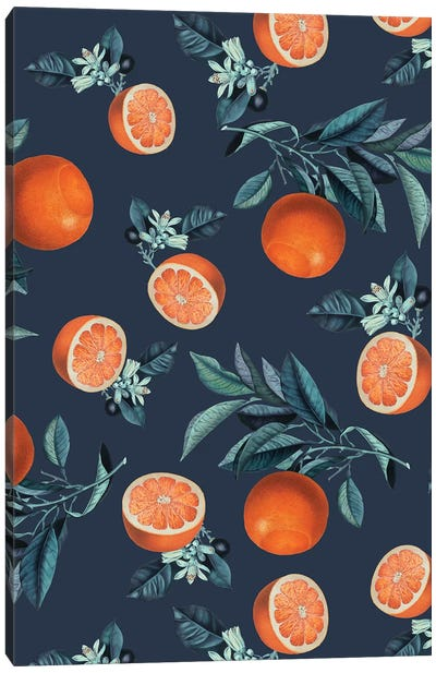 Lemon And Leaf Pattern VI Canvas Art Print