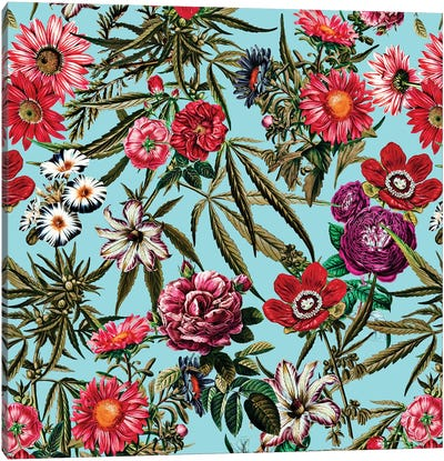 Marijuana And Floral Pattern II Canvas Art Print