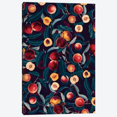 Nectarine And Leaf Pattern Canvas Print #BUR143} by Burcu Korkmazyurek Canvas Art Print