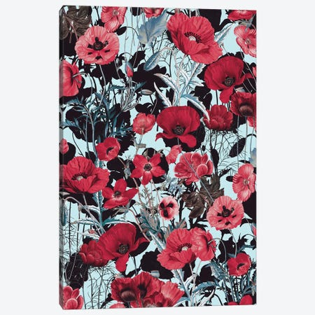 Poppy Floral Pattern Canvas Print #BUR154} by Burcu Korkmazyurek Canvas Print