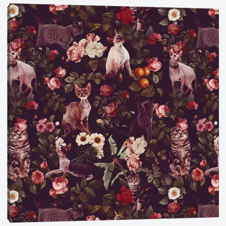 Floral And Cats Pattern Canvas Print #BUR15} by Burcu Korkmazyurek Canvas Artwork