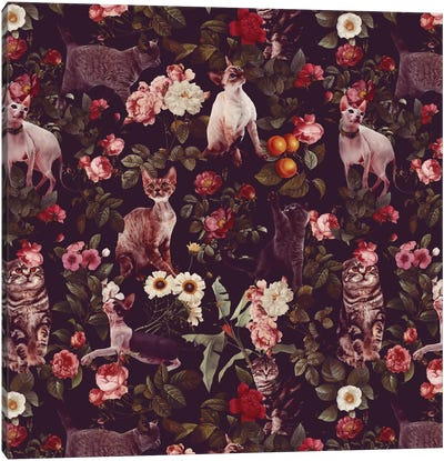 Floral And Cats Pattern Canvas Art Print