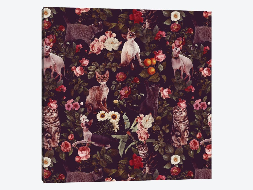 Floral And Cats Pattern by Burcu Korkmazyurek 1-piece Canvas Artwork