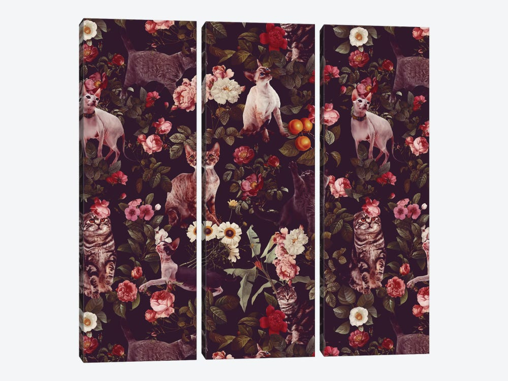 Floral And Cats Pattern by Burcu Korkmazyurek 3-piece Canvas Art