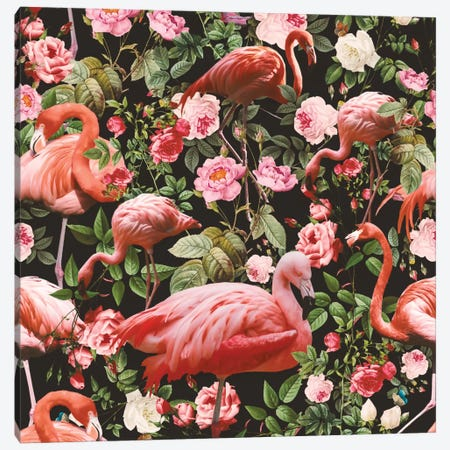 Floral And Flamingo Pattern Canvas Print #BUR16} by Burcu Korkmazyurek Canvas Artwork