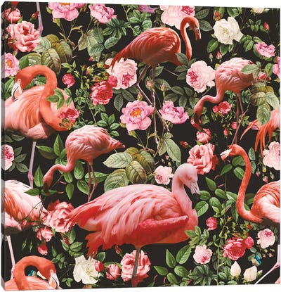 Floral And Flamingo Pattern Canvas Art Print