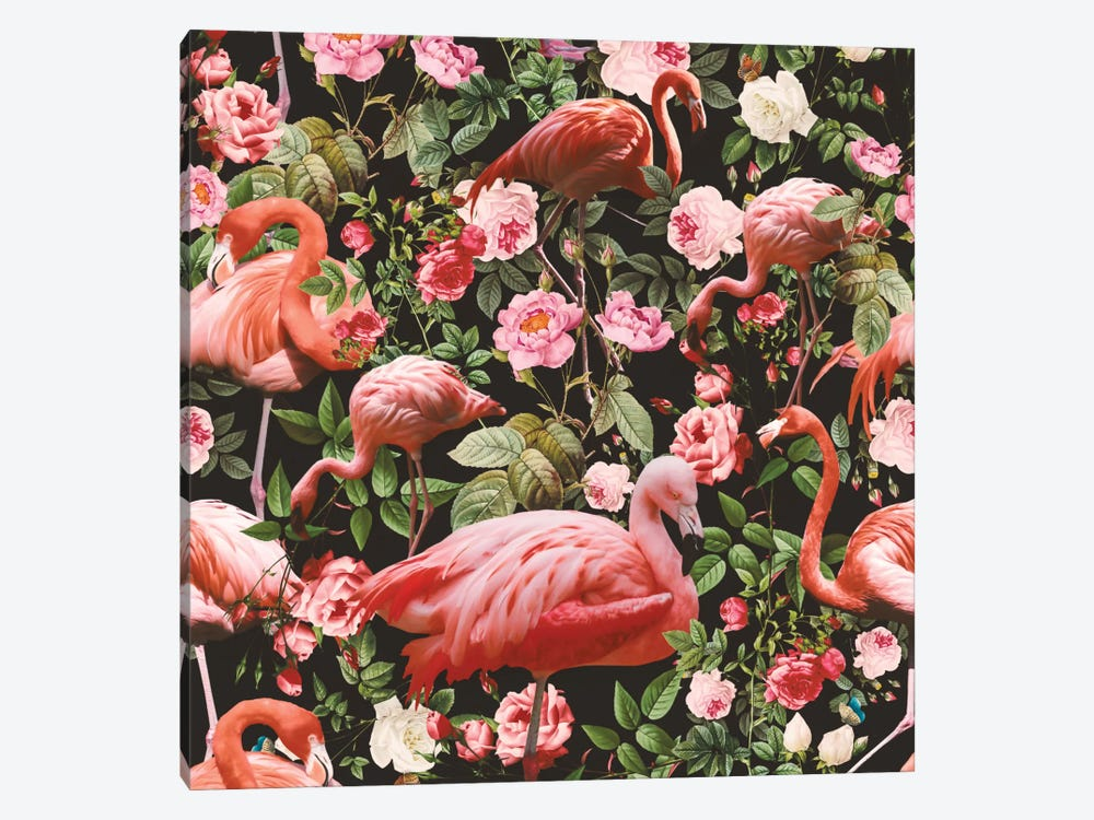 Floral And Flamingo Pattern 1-piece Canvas Print