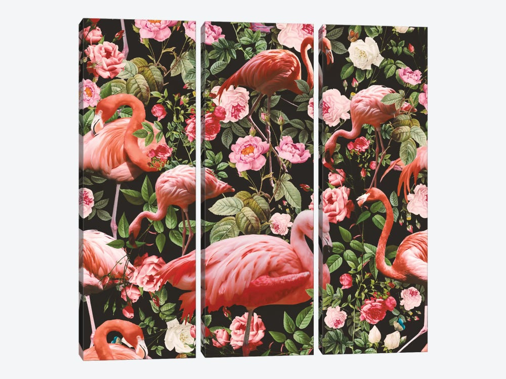 Floral And Flamingo Pattern 3-piece Canvas Print