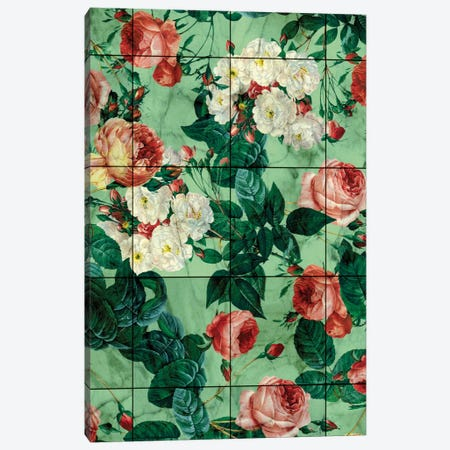 Floral And Marble Texture Canvas Print #BUR17} by Burcu Korkmazyurek Canvas Artwork