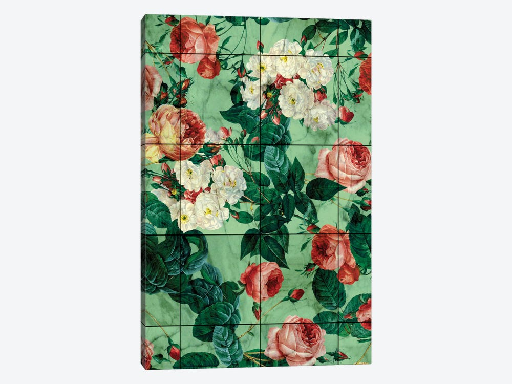 Floral And Marble Texture by Burcu Korkmazyurek 1-piece Canvas Art