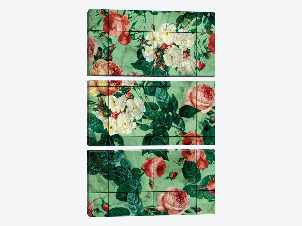 Floral And Marble Texture by Burcu Korkmazyurek 3-piece Canvas Wall Art