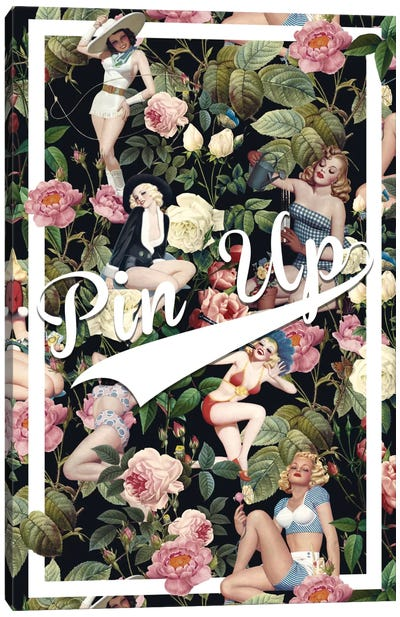 Floral And Pin-Up Canvas Art Print