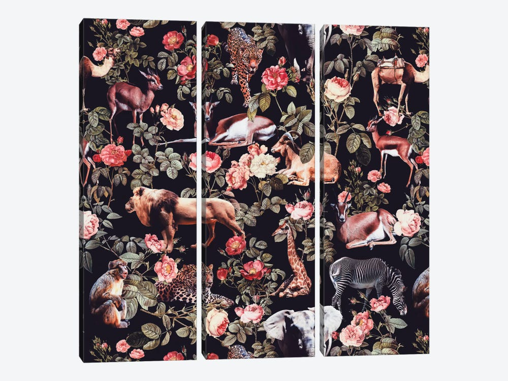 Animals And Floral Pattern by Burcu Korkmazyurek 3-piece Art Print