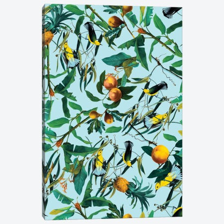 Fruit And Birds Pattern Canvas Print #BUR20} by Burcu Korkmazyurek Canvas Artwork