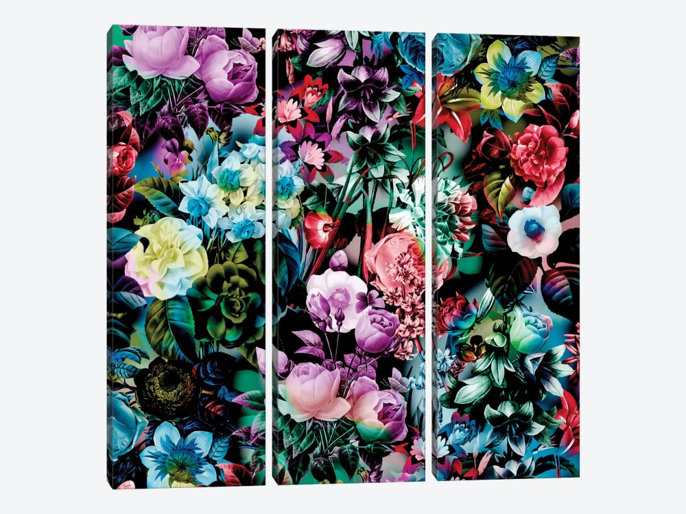 Multicolor Floral Pattern by Burcu Korkmazyurek 3-piece Canvas Wall Art