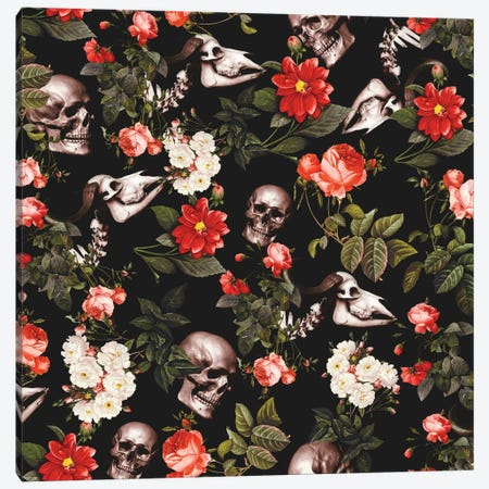 Skull And Floral Canvas Print #BUR34} by Burcu Korkmazyurek Canvas Wall Art