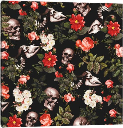 Skull And Floral Canvas Art Print