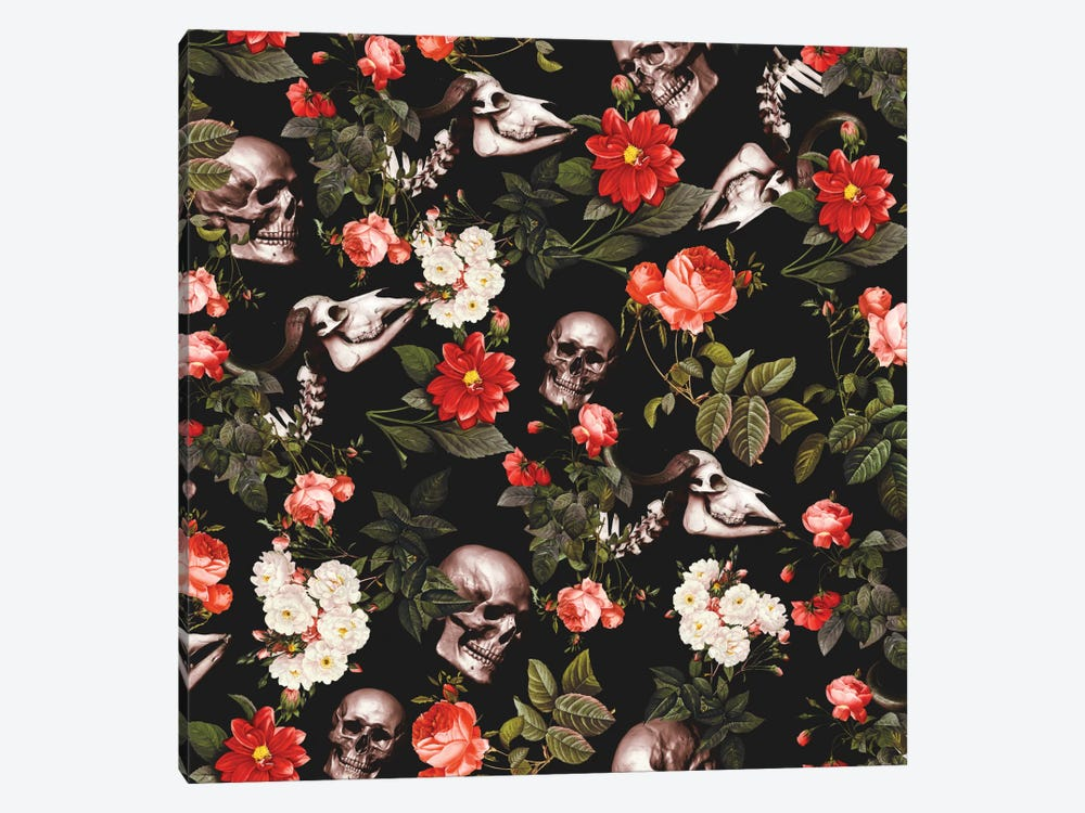 Skull And Floral 1-piece Canvas Print