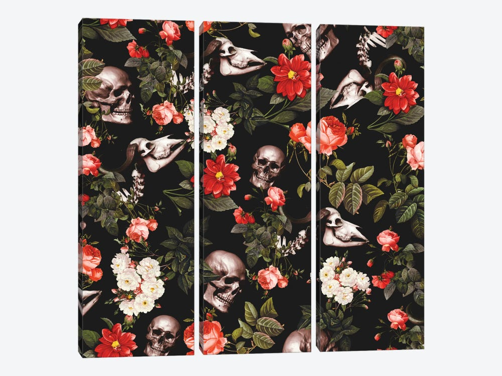 Skull And Floral 3-piece Canvas Print