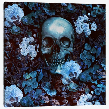 Skull And Flowers Canvas Print #BUR35} by Burcu Korkmazyurek Canvas Art