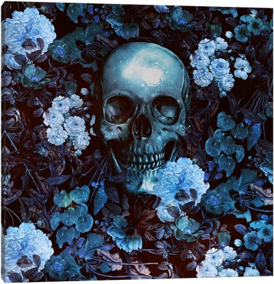 Skull And Flowers Canvas Print #BUR35