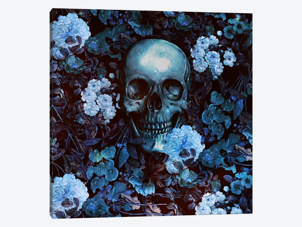 Skull And Flowers 1-piece Canvas Artwork