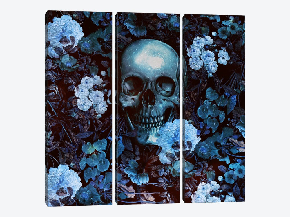 Skull And Flowers 3-piece Canvas Art