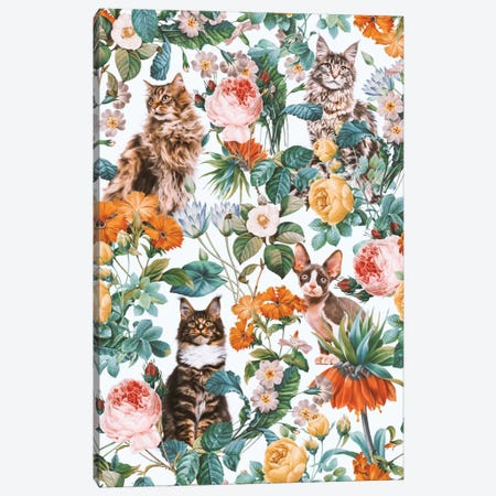 Floral And Cats Pattern II Canvas Print #BUR54} by Burcu Korkmazyurek Canvas Wall Art