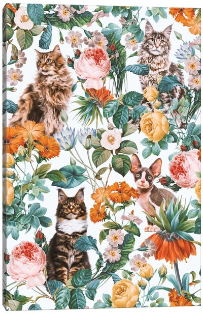 Floral And Cats Pattern II Canvas Art Print