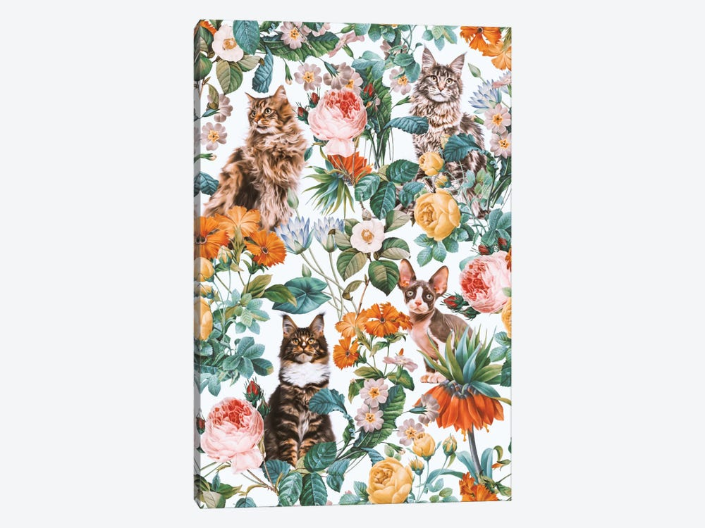 Floral And Cats Pattern II 1-piece Art Print