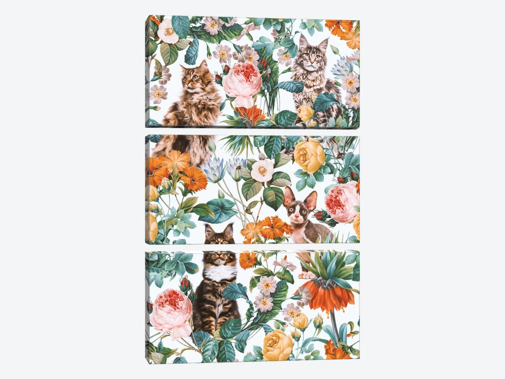 Floral And Cats Pattern II by Burcu Korkmazyurek 3-piece Art Print
