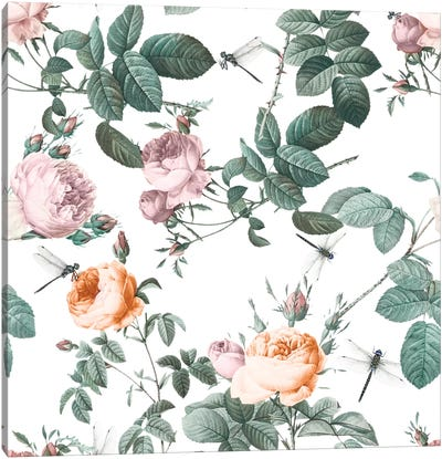 Floral And Dragonflies Canvas Print #BUR55